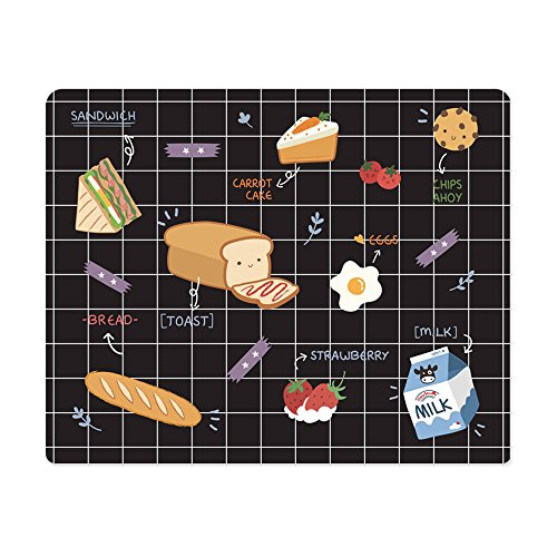 Cute Ins Creative Funny Food Style Breakfast Print Non-Slip Rubber Personalized Gaming Rectangle Mouse Keyboard Pads Desk Smooth Surface Mats for Office Computer Laptop Home Decor