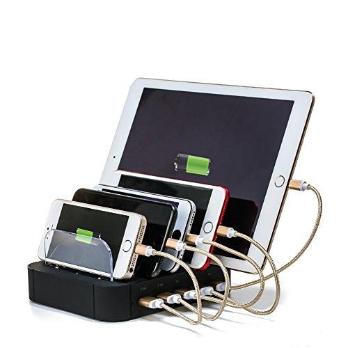 USB Charging Station,Puloa 5-Port Detachable Universal USB Charging Station Dock Stand with Innovative Removable Baffles Organizer for Smart Phones & Tablets,Black