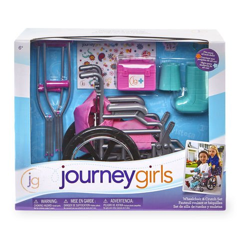 Journey Girls Wheelchair and Crutch Set - Pink with Teal Cast