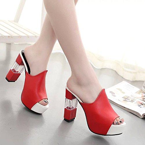pesce super ruvido femmina ragazza bocca pantofole 38 raffreddare e 9 elegante e Scarpe 20 rosso le donna elegante versatile BqFwvHAS