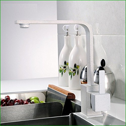 Tradition Kitchen Faucet Solid brass hot and cold water swivel spoutWhiteSink faucet basin mixer (White Lever Basin Pillar Taps)