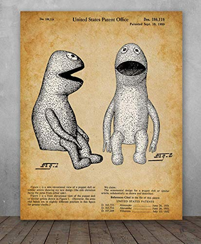 Poster - Kermit the Frog Muppet Patent - Choose Unframed Poster or Canvas - Makes a Great Gift for Hairstylists or Beauticians