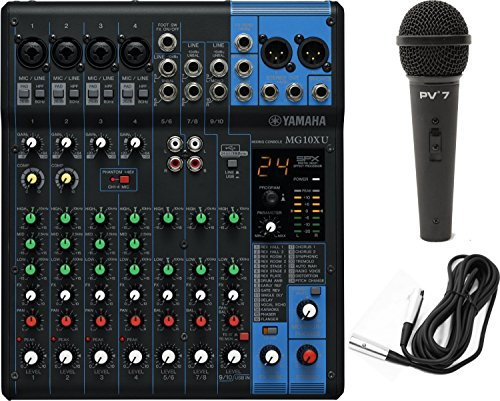 Yamaha MG10XU 10 Input Stereo Mixer USB w/ Dynamic Microphone and Cable (Yamaha Stereo Mixer compare prices)