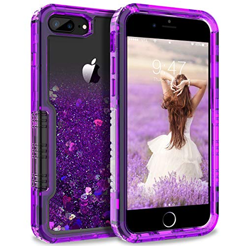 Dexnor Compatible with iPhone 6 Plus/ 6S Plus/ 7 Plus/ 8 Plus Case Floating Glitter Bling Moving Liquid Quicksand Hard Cover Clear Thickened Dual Layer Full Protection Bumper for Girls/ Women - Purple