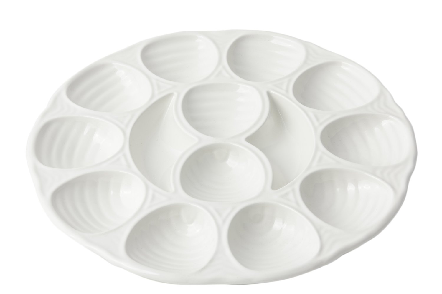 Bon Chef 5022 Aluminum 12 Hole Oyster Plate, 11-1/4'' Diameter, Sandstone White (Pack of 6)