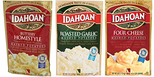Idahoan Mashed Potatoes Variety Bundle : Buttery Homestyle, Four Cheese, Roasted Garlic (4 Ounce x 3 Pack) by Idahoan