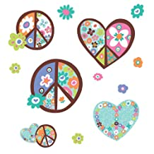 RoomMates RMK1621GM Heart and Peace Sign Peel and Stick Giant Wall Decal