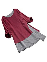 EISHOW Vintage Womens Plus Size Casual Blouse O Neck Long Sleeve Button Splice Cotton Tops Tee Lattice Loose Tunic Tee Shirt