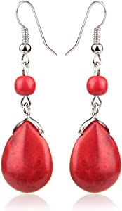 Black Deals Friday Cyber Deals Monday Deals Sales-ValentoriaSimple Elegant Silver Plated Fishhook Small Bead Teardrop Rimous Turquoise Dangle Drop Earrings Gift for Women Girls (Red)