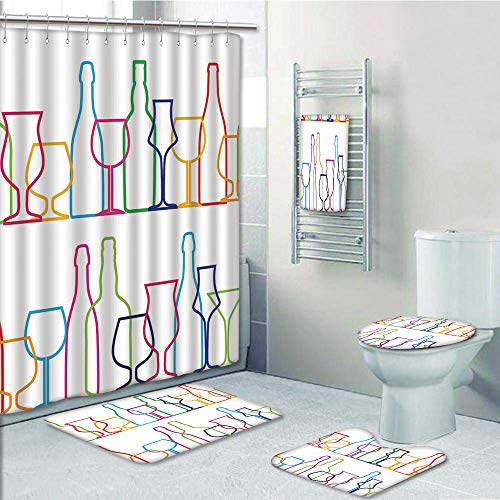 Bathroom 5 Piece Set shower curtain 3d print Multi Style,Wine,Colorful Outline Bottles and Glasses Bar Party Drink Cocktails Modern Fun Collection Decorative,Multicolor,Bath Mat,Bathroom Carpet Rug,No