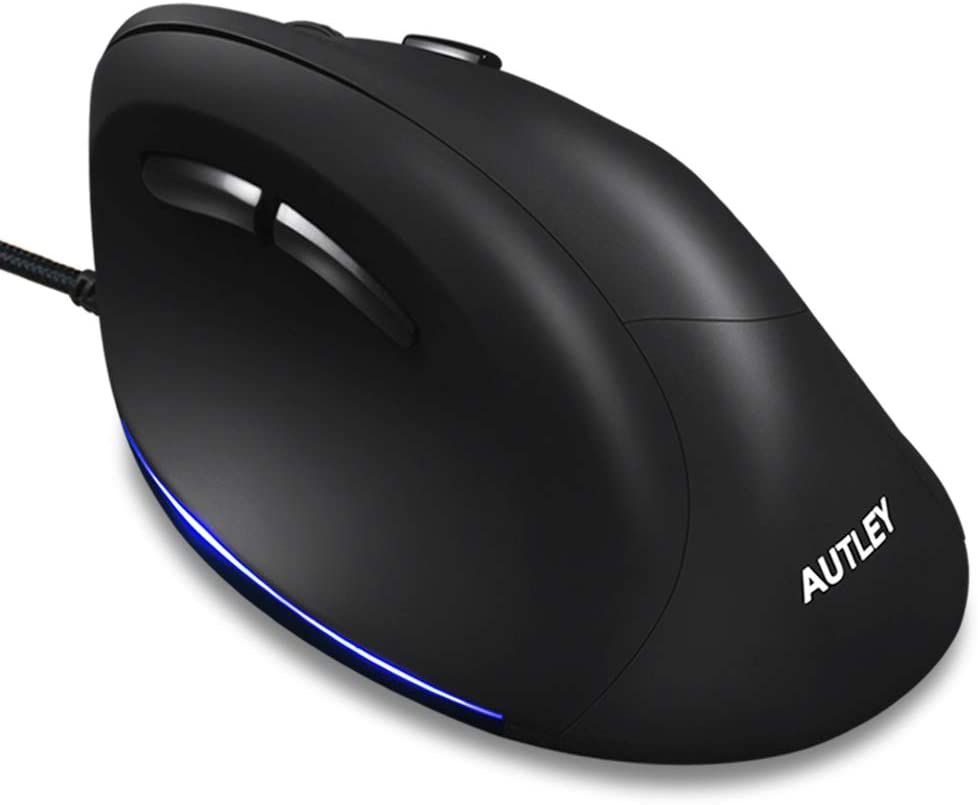 Wired Ergonomic Mouse, AUTLEY Vertical Mouse USB Wired Mouse for Laptop Desktop Computer Mac, 1000/1600/2400/3200 DPI, Better for Large Hands, Black