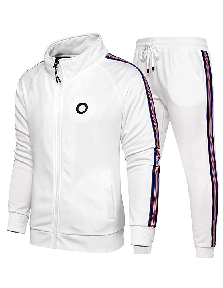 Lavnis Mens Casual Tracksuit Long Sleeve Full-Zip Running Jogging Sports Jacket and Pants