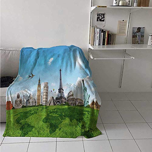 - maisi Map Digital Printing Blanket Famous Historical Monuments of The World Theme Holiday Travel Destinations Summer Quilt Comforter 62x60 Inch Pale Blue Green Ivory