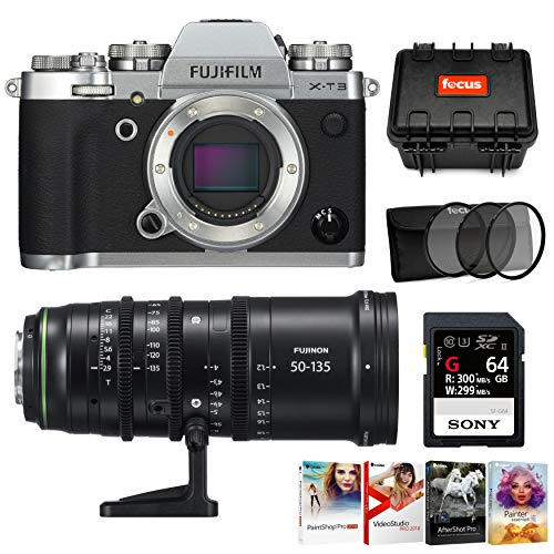 Fujifilm X-T3 Digital Camera w/MKX 50-135mm T2.9 Lens Video Accessory Bundle + G Series 64GB Card