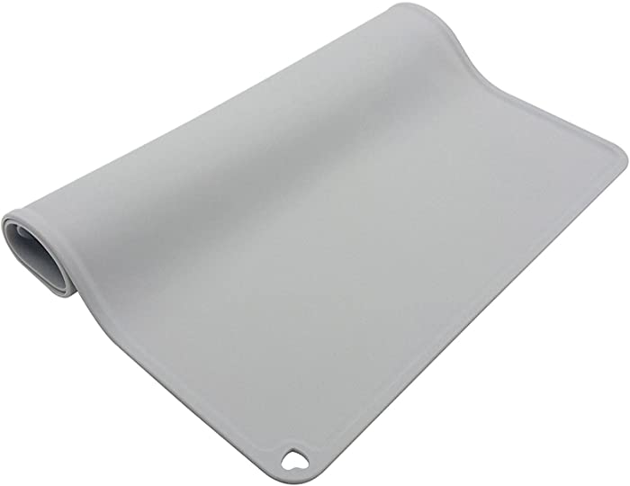 Silicone Pet Feeding Pad Waterproof Dog Feeder Pads Placemat Spillproof Food Mat Pets Puppy Cat Non Slip Bowl Mat Pet Supplies 40x60cm Gray