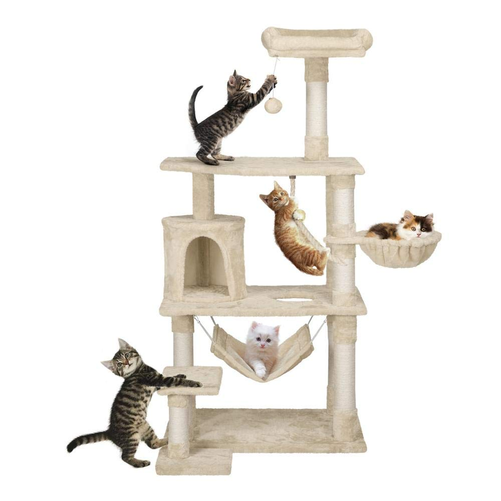 Yaheetech 62in Extra Large Cat Tree Condo with Sisal-Covered Scratching Post Plush Perch Hammock, Cat Tower Activity Center Kitten Furniture Play House by Yaheetech