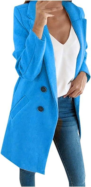 Pandaie Women Winter Coat Long Wool Parka Coat Wool Coat Double Breasted Checked Winter Parka Trench Coat Cardigan
