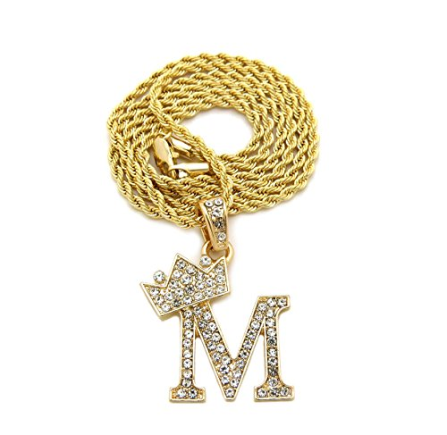 Unisex Small Size Pave Crowned Initial Alphabet Letter Pendant 2mm 24