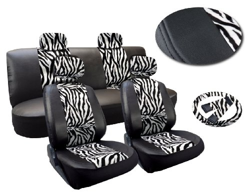 Camel Zebra (White Zebra Deluxe Leatherette 13pc Full Car Seat Cover Set Premium Synthetic Leather Double Stitched - Low Back Front Bucket Seats - Rear Bench - Steering Wheel Set - 4 Headrests)