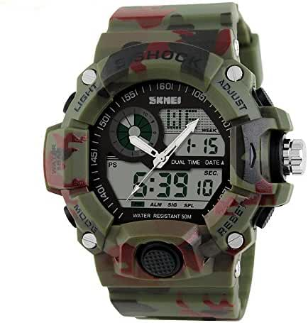 SKMEI 1029 Japanese-quartz LED And Pointer Display Rubber 50M Waterproof Multi-functional Sports Watch
