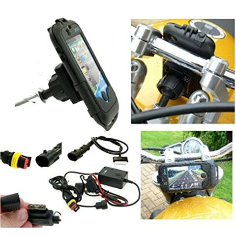 Motorcycle Fork Stem Yoke iPhone 4S Powered Mount Kit. Fits 17.5mm - 20.5mm (sku 13949) (Iphone4 Tough Cases)