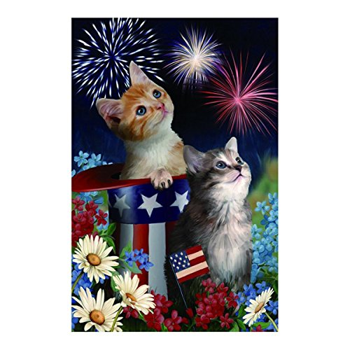 Polyester Fabric Garden Flags Lovely Kitties With Dasies American Hat Fade And Mildew Resistant Custom Banners Of Waterproof 12.5 X 18 Inch (Fathers Dasy)