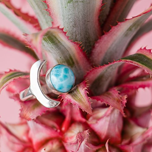 (Larimar Moon Ring with Sterling Silver | Unique Gemstone Statement Ring | Rare Blue Stone from the Dominican Republic with love | Size 6.5)