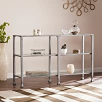 Southern Enterprises Jaymes 3 Shelf Glass Top Console Table in Silver