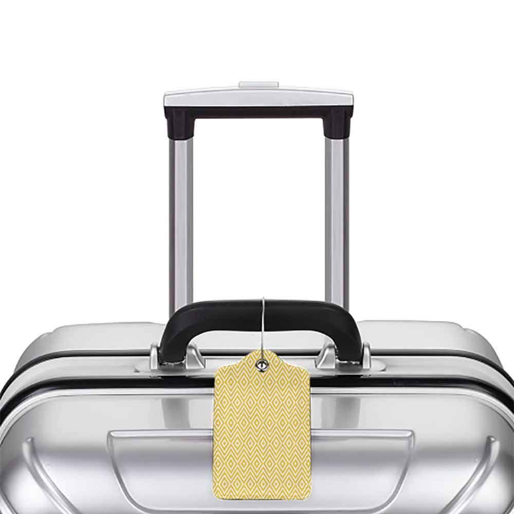 Small luggage tag Geometric Modern Design with Triangle Square Shapes Made with Stripes Art Print Quickly find the suitcase Marigold and White W2.7 x L4.6