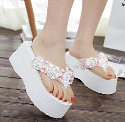 Womens Rhinestone Platform High Heel Sandals Wedges Thong Slippers White KPUtAvaQ