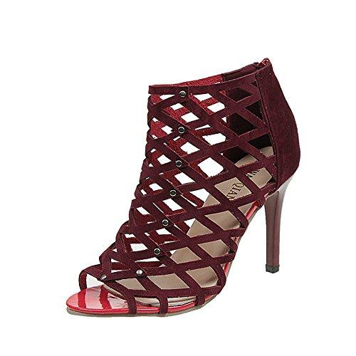 Xinantime Women's Laser Cutout Stiletto Heel Open Peep Toe Sandals Rivet Cut-Outs Zip Ankle Boots Beige]()