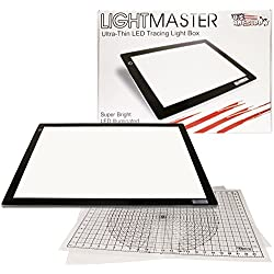 "US ART SUPPLY Lightmaster 32.5"" Extra Large(A2) 17""x24"" LED Lightbox Board Ultra-Thin 3/8"" Light Box Pad and 110V AC Power Adapter Dimmable LED with Measuring Overlay Grid & Circle Template/Protractor"