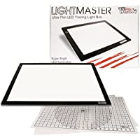 US ART SUPPLY Lightmaster Jumbo 32.5 Diagonal Extra Large(A2) 17x24 LED Lightbox Board- 12-Volt Super-Bright Ultra-Thin 3/8 Profile Light Box Pad with 110V AC Power Adapter & Dimmable LED Lamps. Now Includes for FREE: 1 Measuring Overlay Grid & 1 Circle Template/Protractor 1-Year Warranty