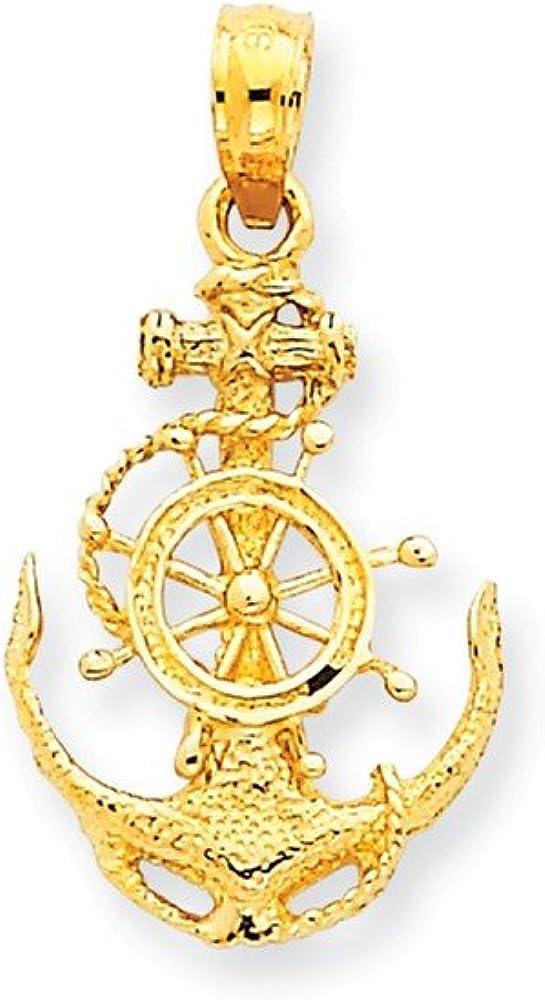 14k Small Anchor w//Wheel Pendant