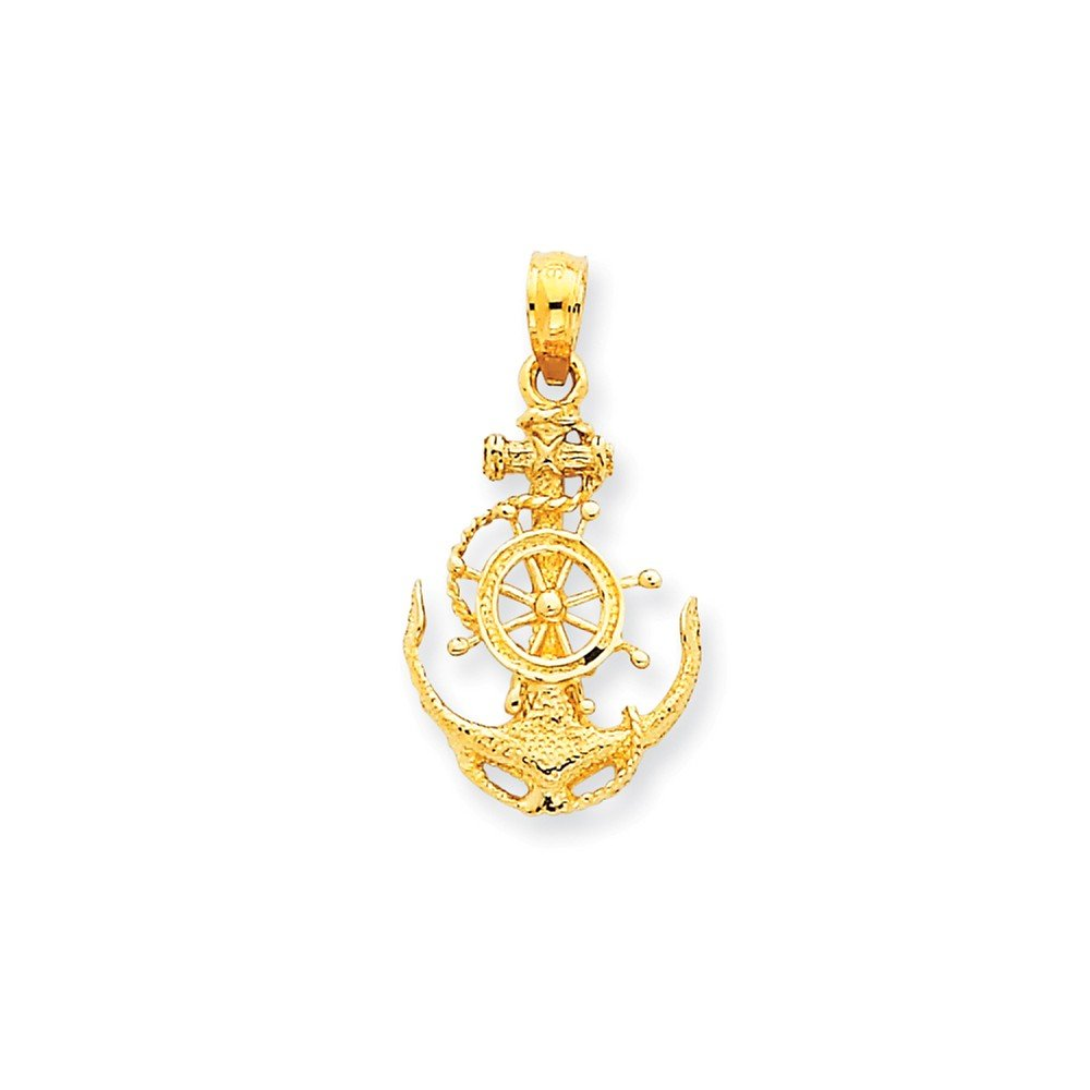 Mia Diamonds 14k Solid Yellow Gold Small Anchor with wheel Pendant 24mm x 8mm