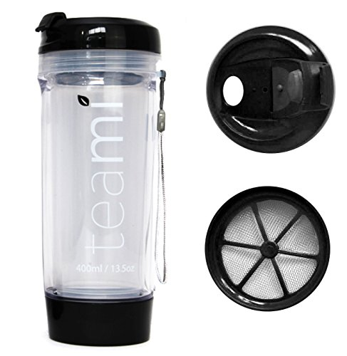 FRUIT INFUSER Water Bottle Tumbler with a Lid | 100% BPA FREE | Our Best Infusion Bottles for Infused Fruit, Smoothies, Tea, and Coffee | Double Walled Mug, Hot & Cold (13.5 Ounces, Black)