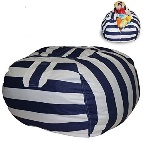 EXTRA LARGE Stuffed Animal Storage Bean Bag Chair with Extra Long Zipper, Carrying Handle, Large Size at 32'', 100% Sturdy Cotton. Excellent Solution for Toys and Clothes, Available For Boys And Girls by shizong