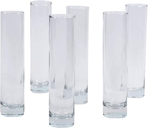 Koyal Wholesale 7 5 Inch Tall Clear Glass Cylinder Bud Vase Set Of 6 Bulk Bud Flower Vases Holder Single Flower Wedding Centerpieces Arrangement Home Decor Office Decor Restaurant Table Decor Amazon Co Uk Kitchen