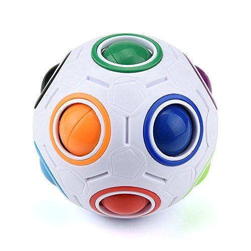 ILUCI Rainbow Ball Magic Cube Fidget Toy Luminous Stress Reliever Puzzle Magic Rainbow Ball Puzzle Fun Fidget - Globe Pen Ball Stress