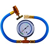 R134a Charging Hose to Refrigerator, Can Tap with Gauge - R-134a can to R-12/R-22 port, AC Recharge Hose