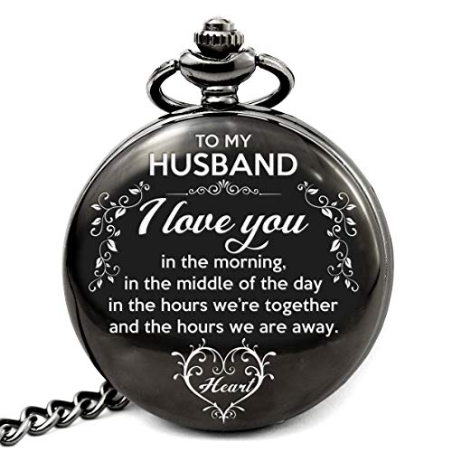 Memory gift - Engraved pocket watch to husband, vintage style, best gift to husband for Valentine day, birthday, Christmas, Wedding Anniversary day.