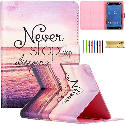 Universal 6.5-8.0 inch Tablet Case, Dteck(TM) Unique Design Cards Slots PU Leather Case [Wallet Cover] Magnetic Closure Flip Stand Protective Case for ALL 6.5-8.0 inch Tablet, Never Stop dreaming