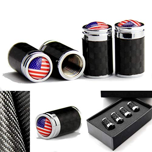 4pcs Luxury Carbon fiber America flag Emblem Car Wheel Tire Tyre Stem Air Cover Valve Caps