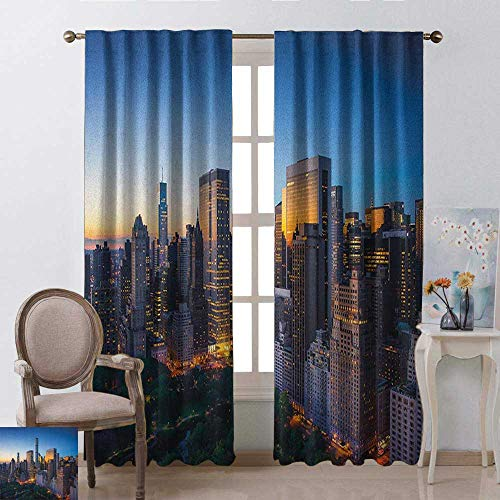 - youpinnong City, Curtains x Pattern, Sun Rising Over Central Park in Manhattan Tranquil Morning Skyscrapers, Curtains Nursery, W84 x L96 Inch, Blue Marigold Dark Green
