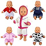 Miunana 5 PCS Fashion Clothes Dresses For 14 -16 Inch Baby Dolls, Newborn Dolls, Our Generation And Other 14 - 16 Inch Dolls