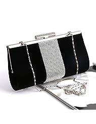 Padoora Rhinestone Women Clutch Evening Party Bag Handbag Envelope Tote Purse(Black)