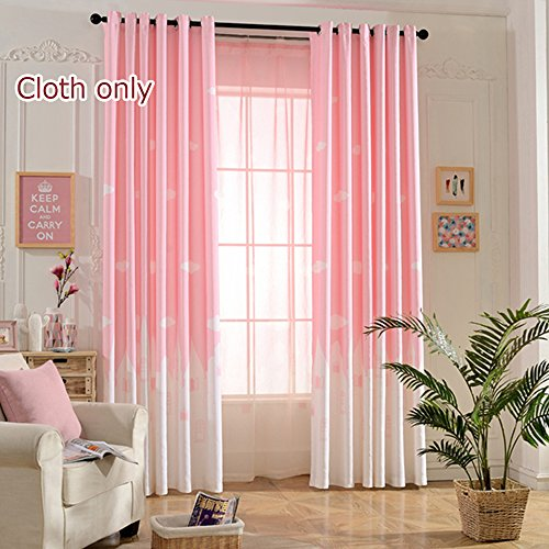 WPKIRA Window Treatments Kids Angels City Semi-Blackout Printed Curtains Fresh Light Filtering Panels Window Drapes Screens Grommet Top For Girls Bedroom, 1 Panel Pink W40 by L84 inch