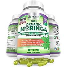Organic Moringa 180 Capsules – 100% Pure Leaf Powder - Max 1000mg Per Serving - Complete Green Superfood Supplement - Full 3 Month Supply - Miracle Tree Organic Certified Moringa Oleifera Vegan Caps