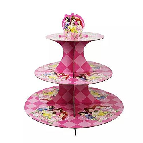 Cartoon Princess 3-Tier Treat Tree Cupcake Stand Paper Cake Carrier