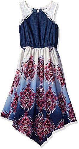 Emily West Big Girls' Sleeveless Printed Challis Hanky Hem Dress, Denim/Multi, (Challis Printed Skirt)